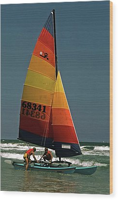 Wood Print featuring the photograph Hobie Cat In Surf by Sally Weigand