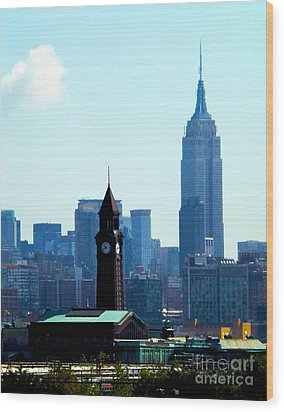 Hoboken And New York Wood Print