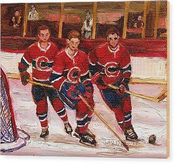 Hockey At The Forum Wood Print by Carole Spandau