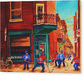 Hockey At Wilenskys Corner Wood Print by Carole Spandau