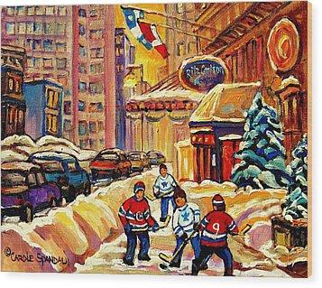 Hockey Fever Hits Montreal Bigtime Wood Print by Carole Spandau