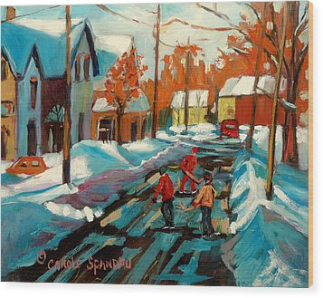 Hockey Game In Ville St Laurent Montreal Streetscenes Wood Print by Carole Spandau