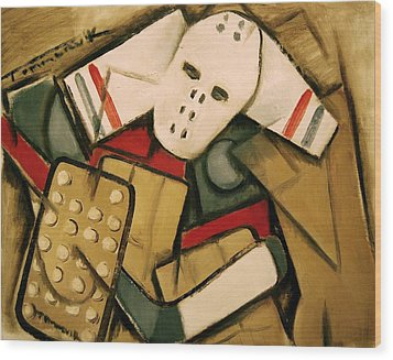 Synthetic Cubism Hockey Goalie Art Print Wood Print by Tommervik