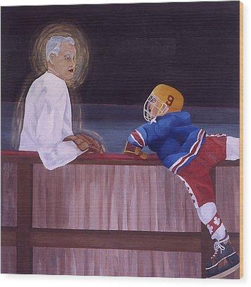 Hockey God Wood Print by Ken Yackel