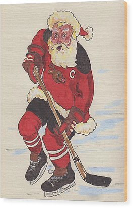 Hockey Santa Wood Print