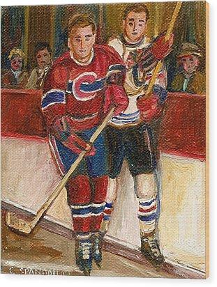 Hockey Stars At The Forum Wood Print by Carole Spandau