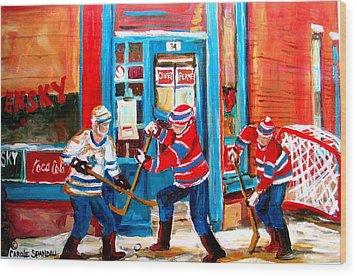 Hockey Sticks In Action Wood Print by Carole Spandau