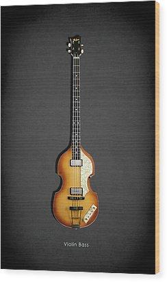 Hofner Violin Bass 62 Wood Print by Mark Rogan