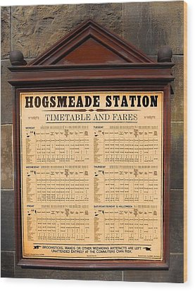 Wood Print featuring the photograph Hogsmeade Station Timetable by Juergen Weiss