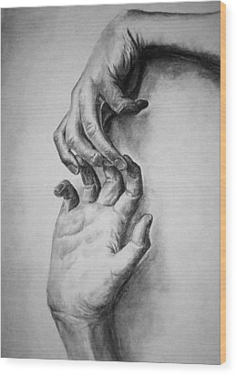 Wood Print featuring the drawing Hold On by Rachel Hames