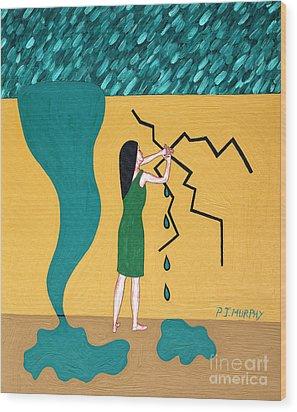 Holding Back The Flood Wood Print by Patrick J Murphy