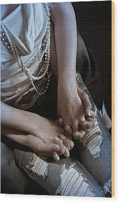 Holding Hands Wood Print by Scott Sawyer