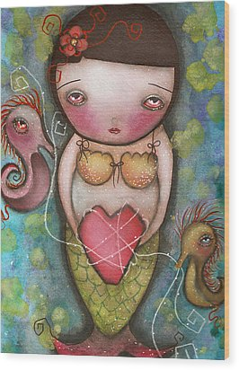 Holding Tight Wood Print by  Abril Andrade Griffith