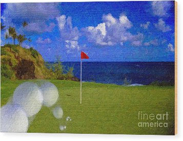 Wood Print featuring the photograph Fantastic 18th Green by David Zanzinger