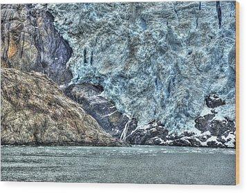 Holgate Glacier Hdr Wood Print by Richard J Cassato