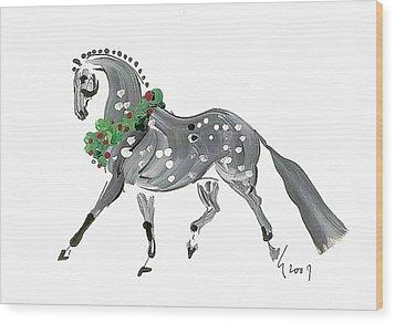 Holiday Gray Wood Print by Liz Pizzo