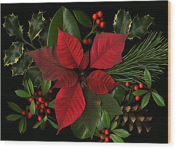 Holiday Greenery Wood Print by Deborah J Humphries