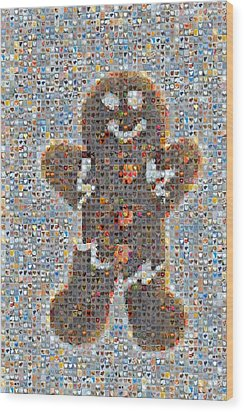 Holiday Hearts Gingerbread Man Wood Print by Boy Sees Hearts