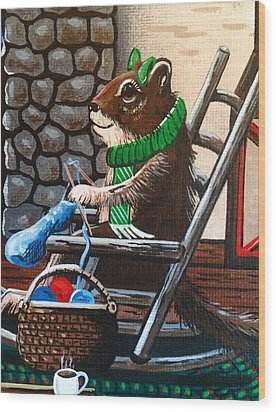 Holiday Knitting Wood Print