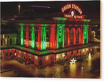 Holiday Lights At Union Station Denver Wood Print