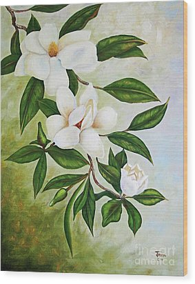 Holiday Magnolias Wood Print by Jimmie Bartlett