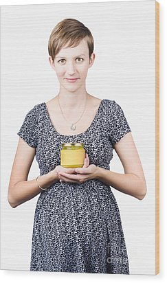 Holistic Naturopath Holding Jar Of Homemade Spread Wood Print by Jorgo Photography - Wall Art Gallery
