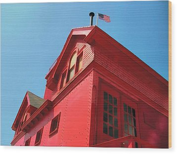 Holland Harbor Light From The Bottom Up Wood Print by Michelle Calkins