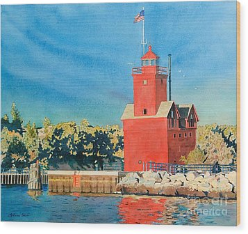 Holland Lighthouse - Big Red Wood Print by LeAnne Sowa
