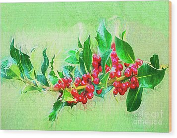 Wood Print featuring the photograph Holly Berries Photo Art by Sharon Talson