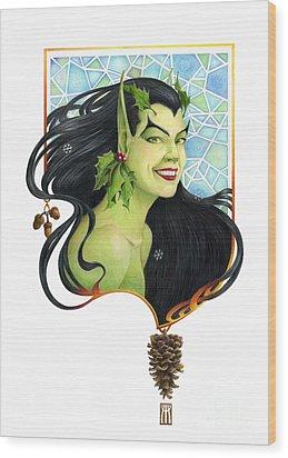 Holly Elf Wood Print by Melissa A Benson