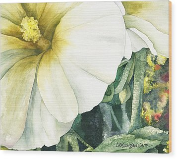 Holly Hock Wood Print by Casey Rasmussen White