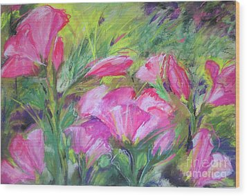 Wood Print featuring the painting Hollyhock Breeze by Susan Herbst