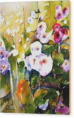 Wood Print featuring the painting Hollyhock Garden 1 by Marti Green