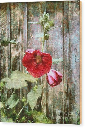 Wood Print featuring the photograph Hollyhock On Weathered Wood - Remember The Days by Janine Riley
