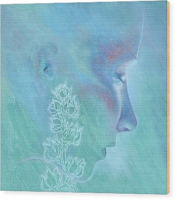 Wood Print featuring the painting Hollyhock by Ragen Mendenhall
