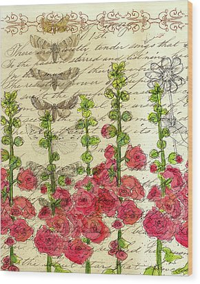 Wood Print featuring the drawing Hollyhocks And Butterflies  by Cathie Richardson