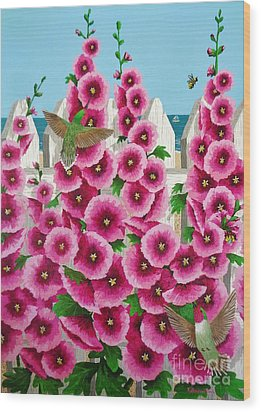 Hollyhocks And Humming Birds Wood Print