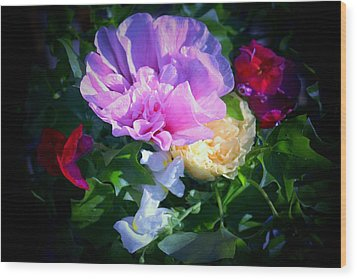 Hollyhocks And Snapdragons  Wood Print by Marjorie Imbeau