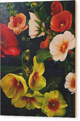 Hollyhocks Wood Print by Dana Redfern