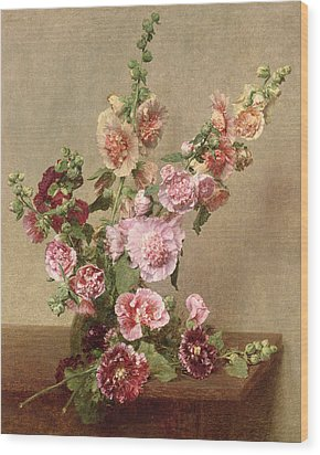 Hollyhocks Wood Print by Ignace Henri Jean Fantin Latour