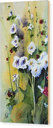 Wood Print featuring the painting Hollyhocks by Marti Green