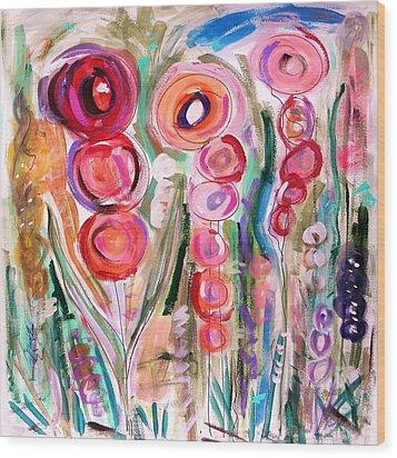 Hollyhocks Of The Garden Wood Print by Mary Carol Williams
