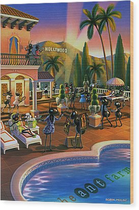 Hollywood Ants Cocktail Party Wood Print by Robin Moline