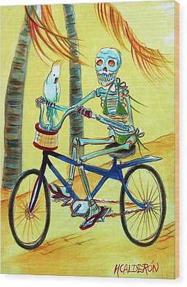 Hollywood Bicycle Woman Wood Print by Heather Calderon