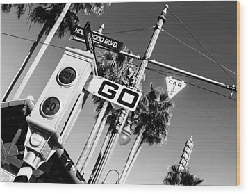Hollywood Blvd Bw Wood Print