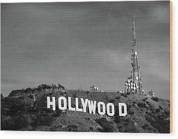Wood Print featuring the photograph Hollywood Hills - Los Angeles California - Black And White by Gregory Ballos
