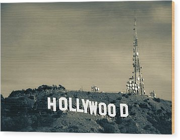 Wood Print featuring the photograph Hollywood Hills - Los Angeles California - Sepia by Gregory Ballos