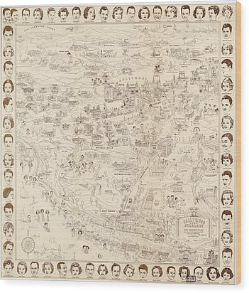 Hollywood Map To The Stars 1937 Wood Print