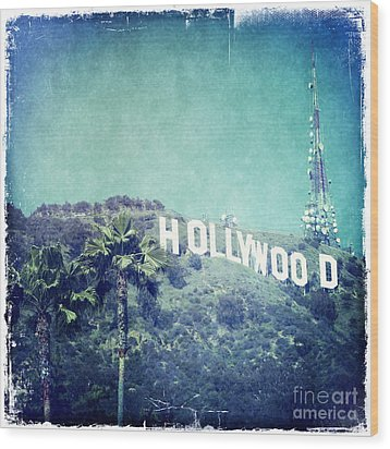 Hollywood Sign Wood Print by Nina Prommer