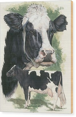 Holstein Wood Print by Barbara Keith